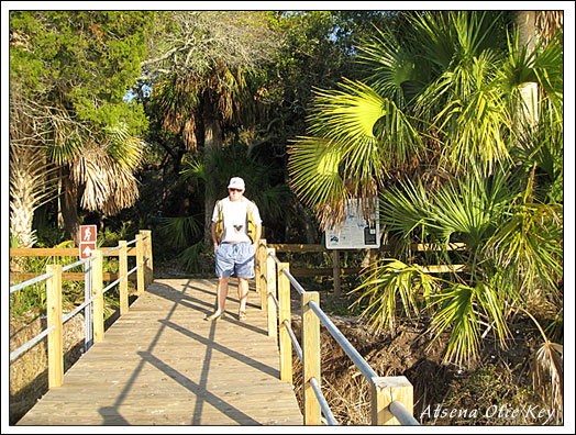 Boardwalk leading to Atsena Otie Key, offshore from Cedar Key, Florida